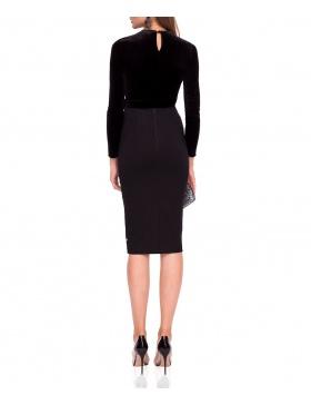 Midi skirt with waist bow
