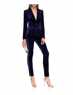 Slim velvet trousers with side straps