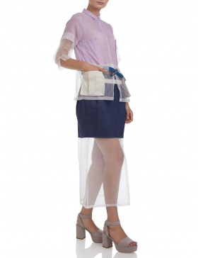 Deconstructed trench shirt with pockets and belt #lilac