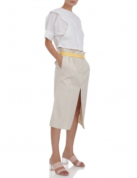 Midi skirt with slit #beige