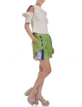 Linen blouse with cutouts sleeves