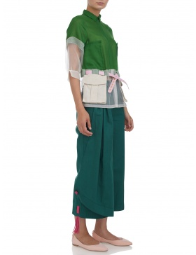 Deconstructed trench shirt with pockets and belt #green