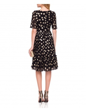 Elegant midi dress with golden print