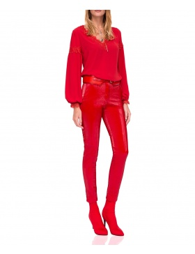 Slim fit trousers with shiny texture