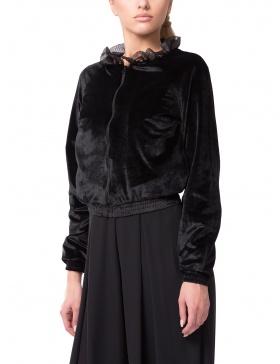 Black Velvet Bomber with Ruffled Collar