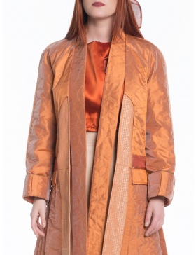 Orange jacket with pleats