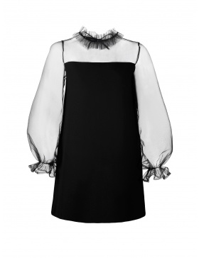 Melissa Crepe Dress with Ruffled Collar and Voluminous Sheer Sleeves