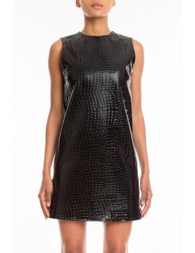 Cross Me patent croc leather dress
