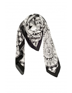 Circular Wishes black/ white scarf