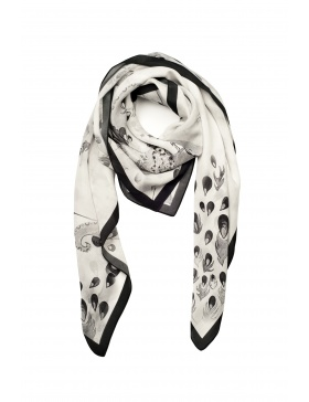 Peacock black/ white scarf