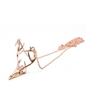 Deer necklace rose