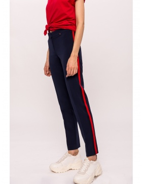 Slim pants with contrast side stripe