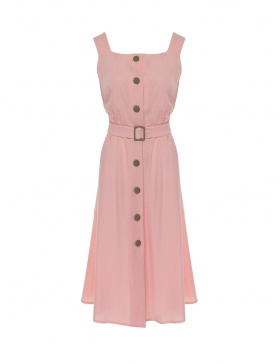 Linen dress with buttons and belt