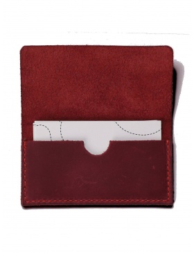Leather business card holder - bordo