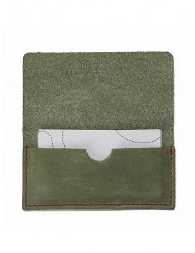 Leather business card holder - green