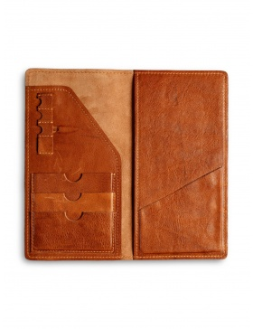 Leather traveler wallet - brown