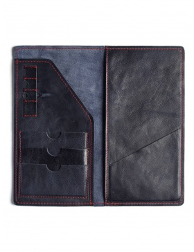 Leather traveler wallet - navy