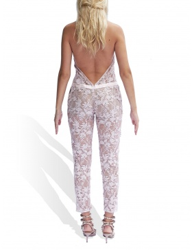 3D embroided lace jumpsuit