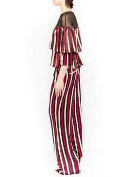 Stripes silk top with ruffles