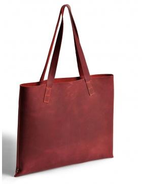 Leather tote bag - bordo