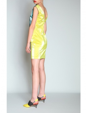 Wet look color block dress