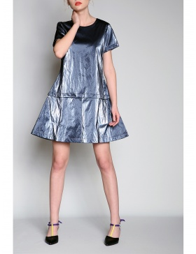 Wet look modular panel dress