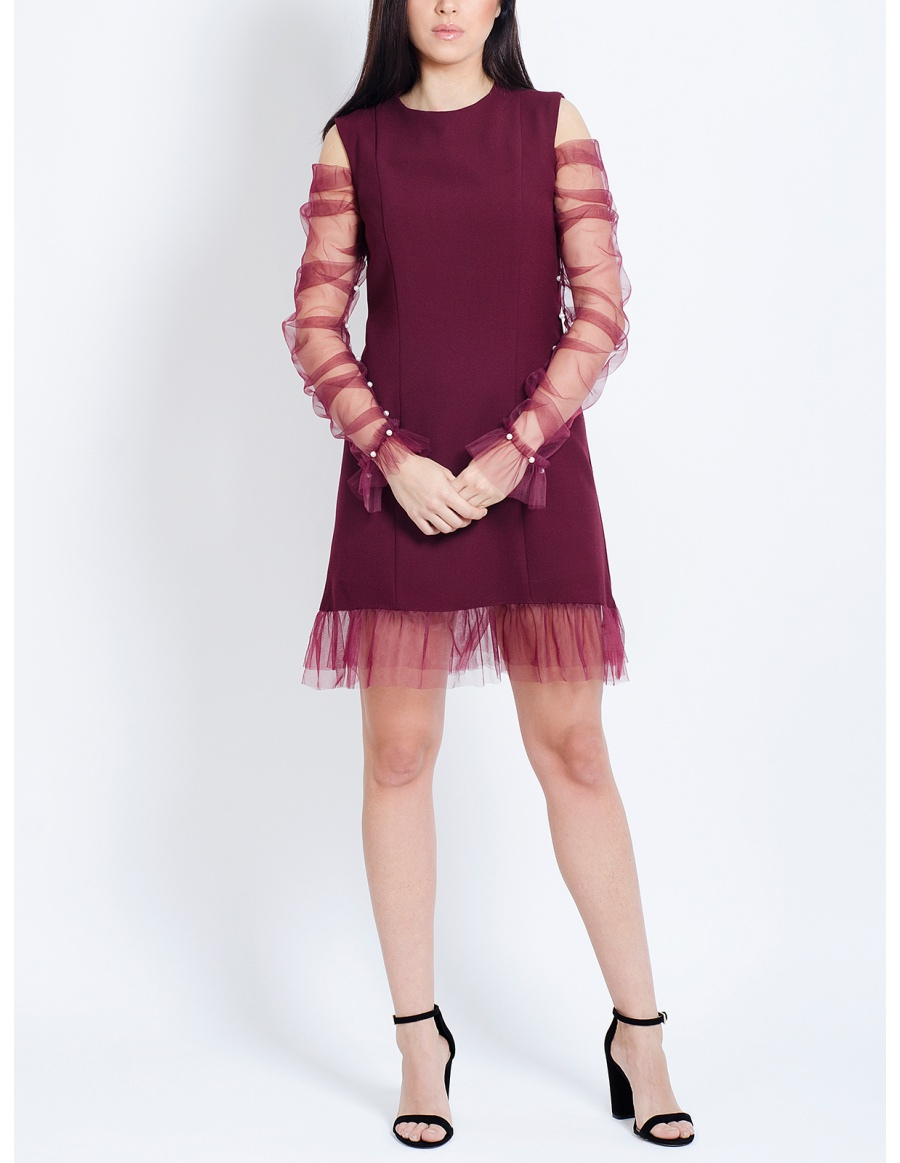 Meryl Burgundy Dress with Tulle Sleeves and Pearls