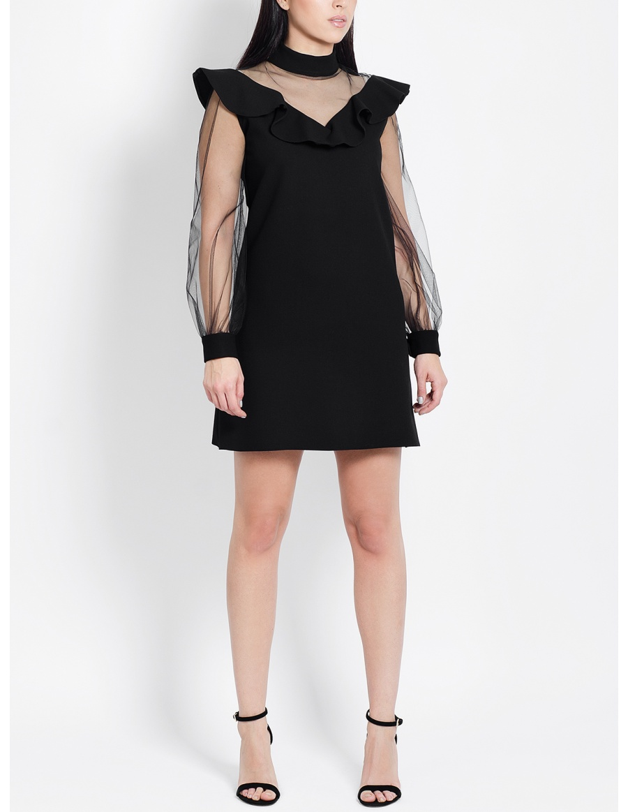 Dolly Black Dress with Ruffles and Puffed Sleeves