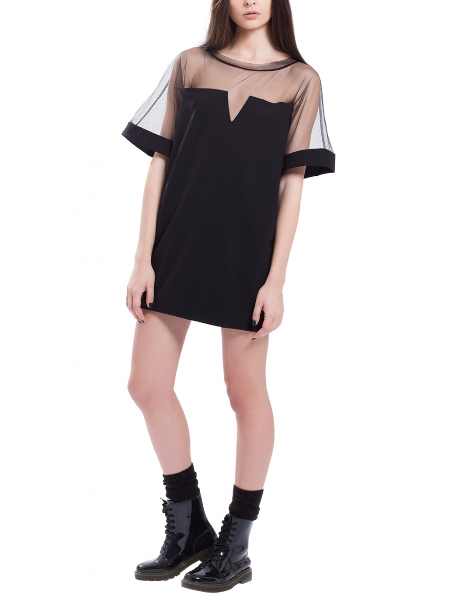 Black mini dress with tulle