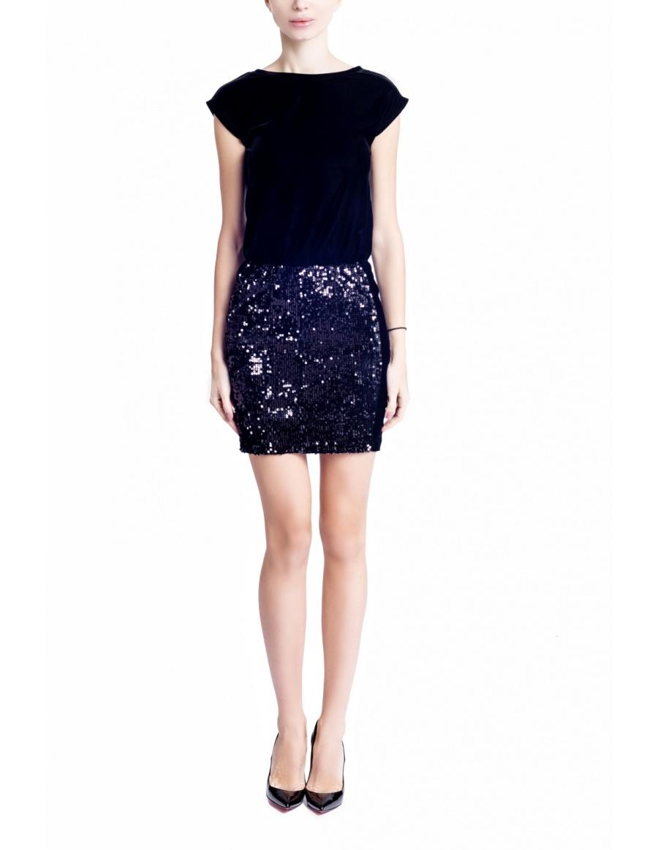 Half Sequins Black Dress