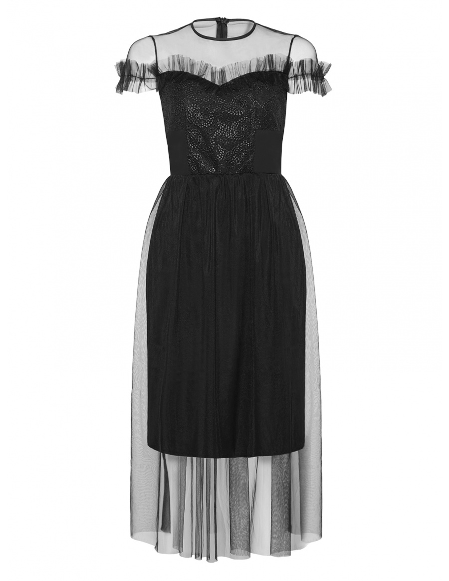 Black Midi Theresa Evening Dress with Lace