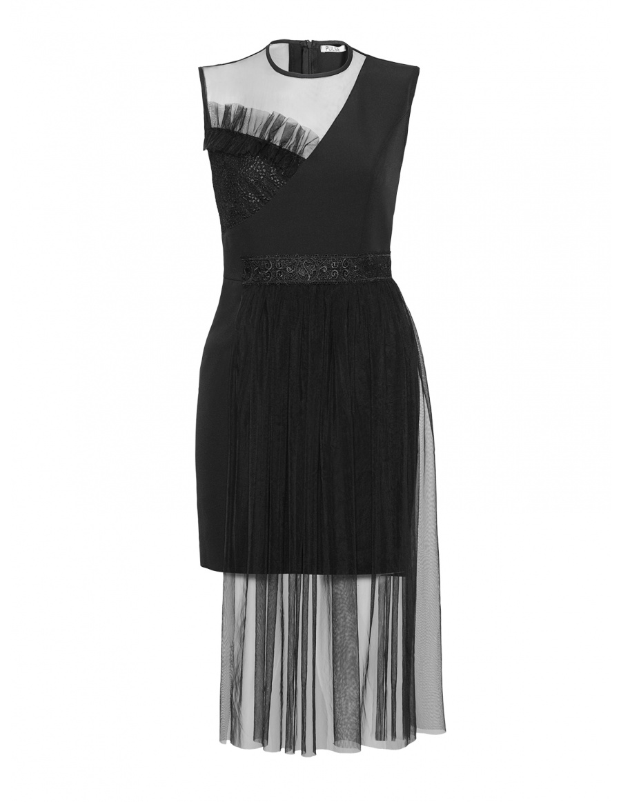 Asymmetric Caroline Black Dress with Lace and Tulle