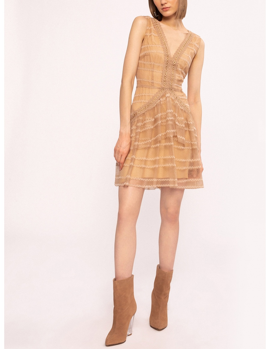 Metallic details dress