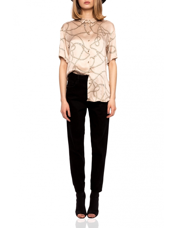 Satin short sleeve shirt | Nissa