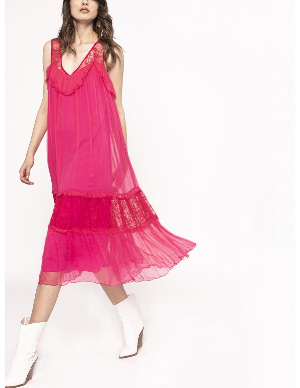 Lace details silk maxi dress