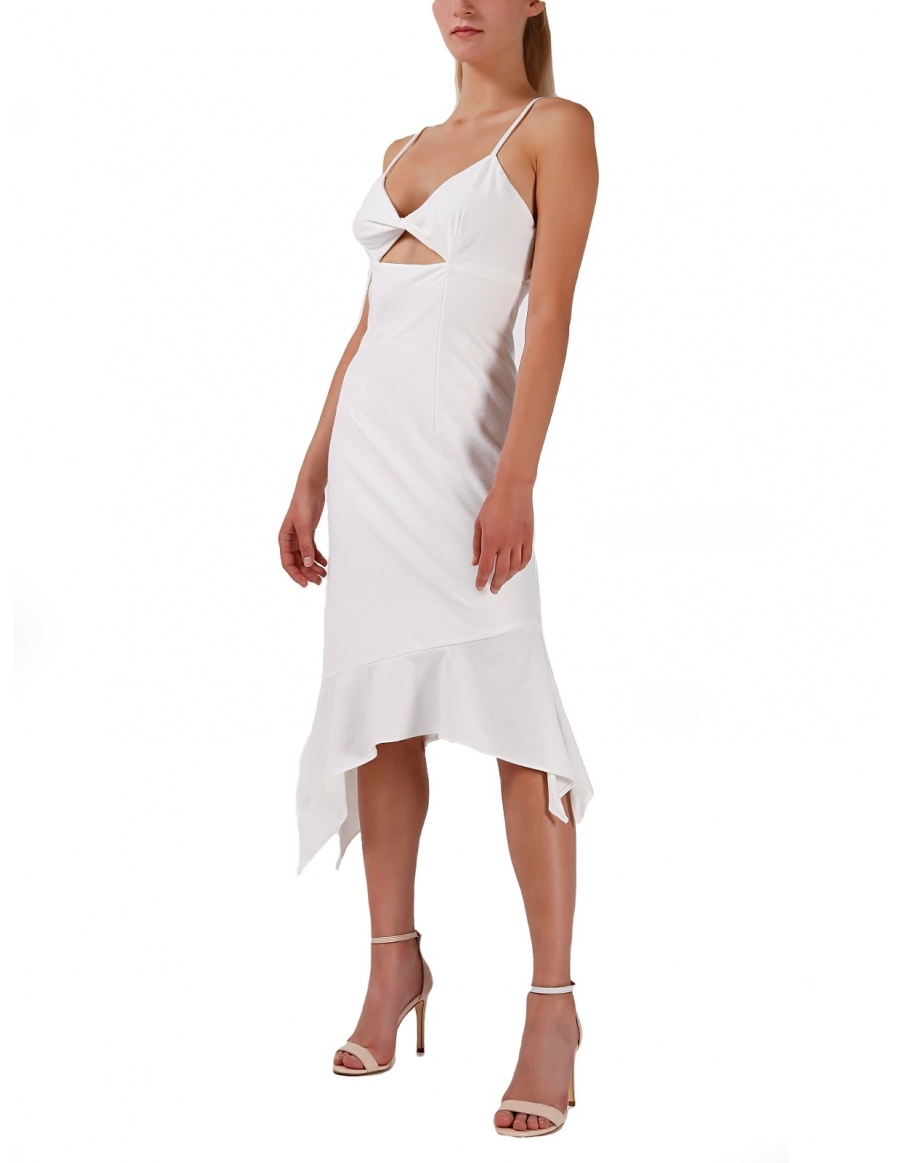 White asymmetric dress with cut-out detail