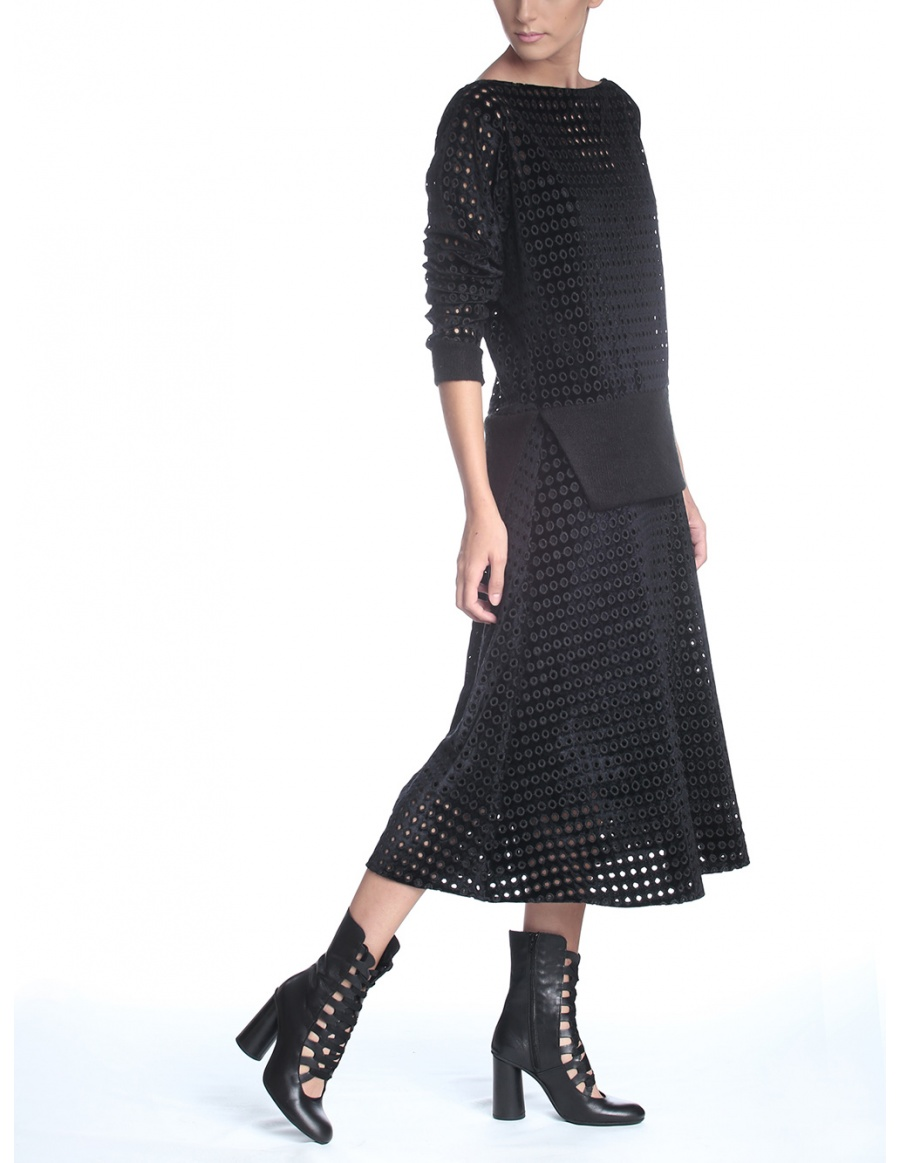Perforated velvet skirt
