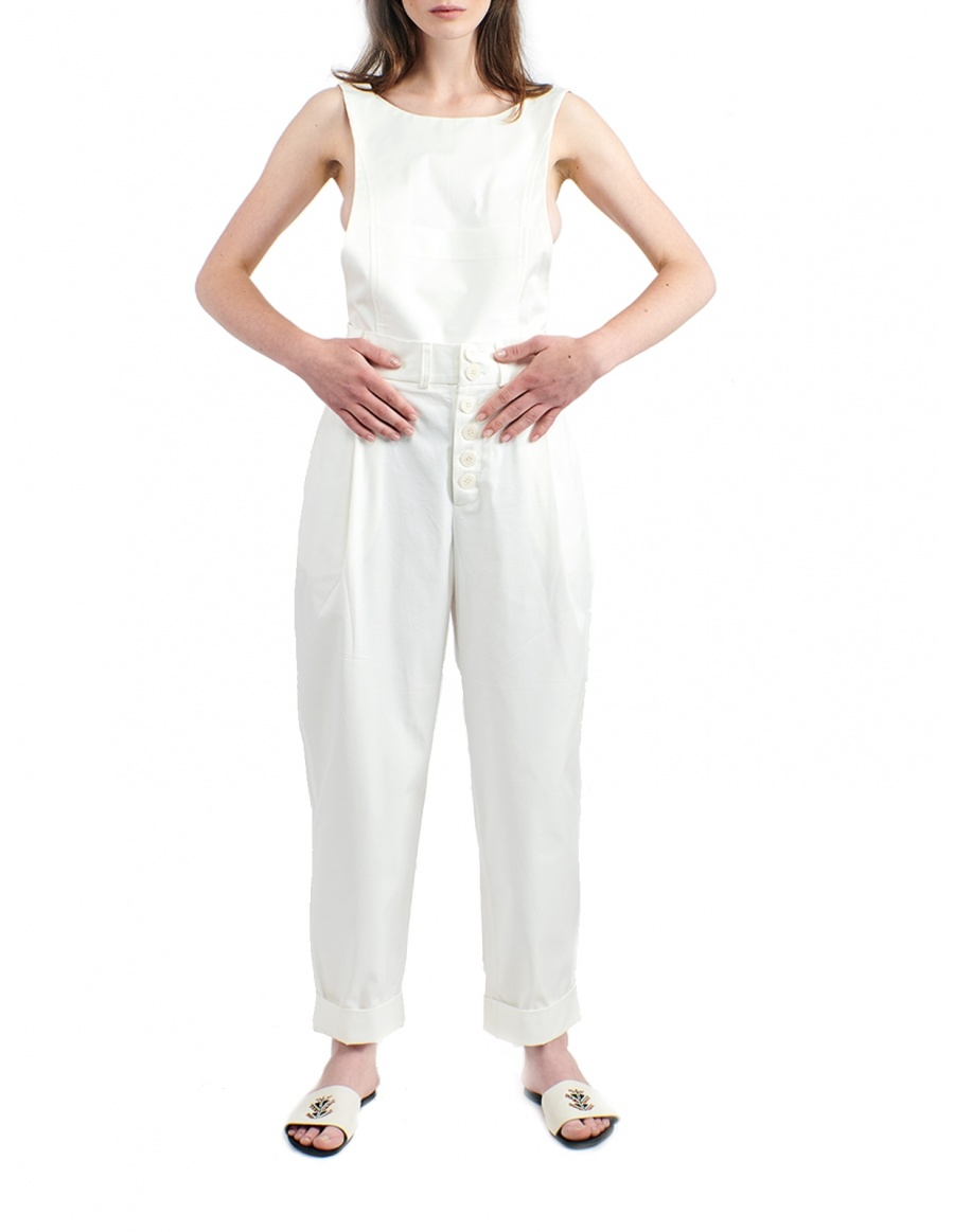 White jumpsuit with removable top