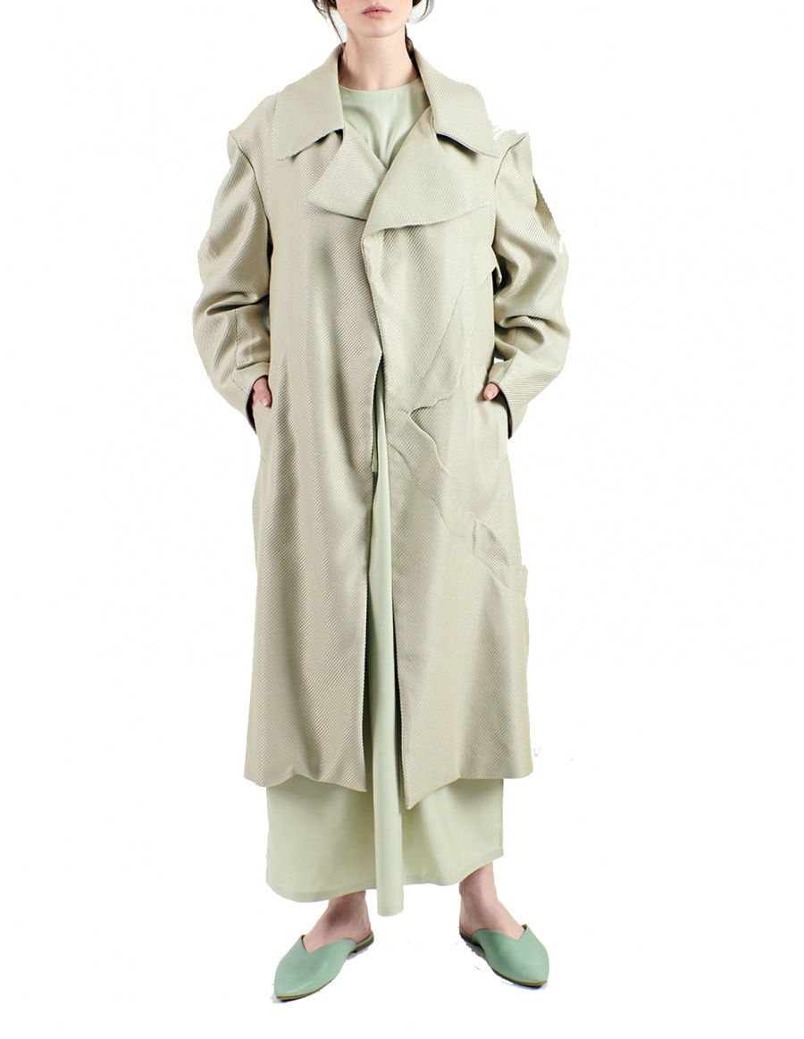 Overcoat made of textured fabric