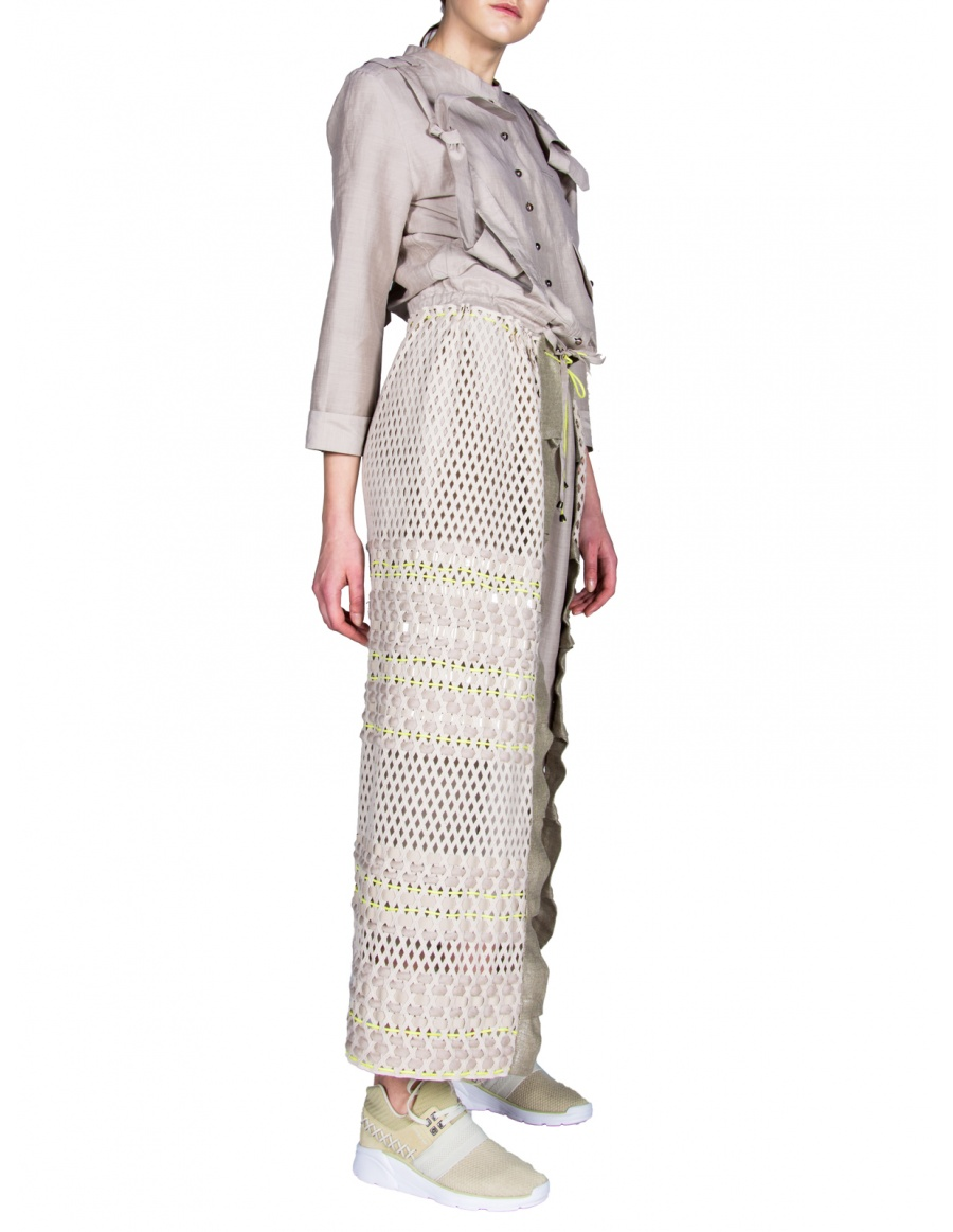 Skirt with braided strings
