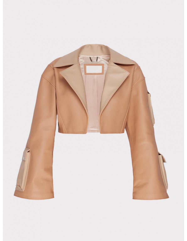 Carina cream short leather jacket