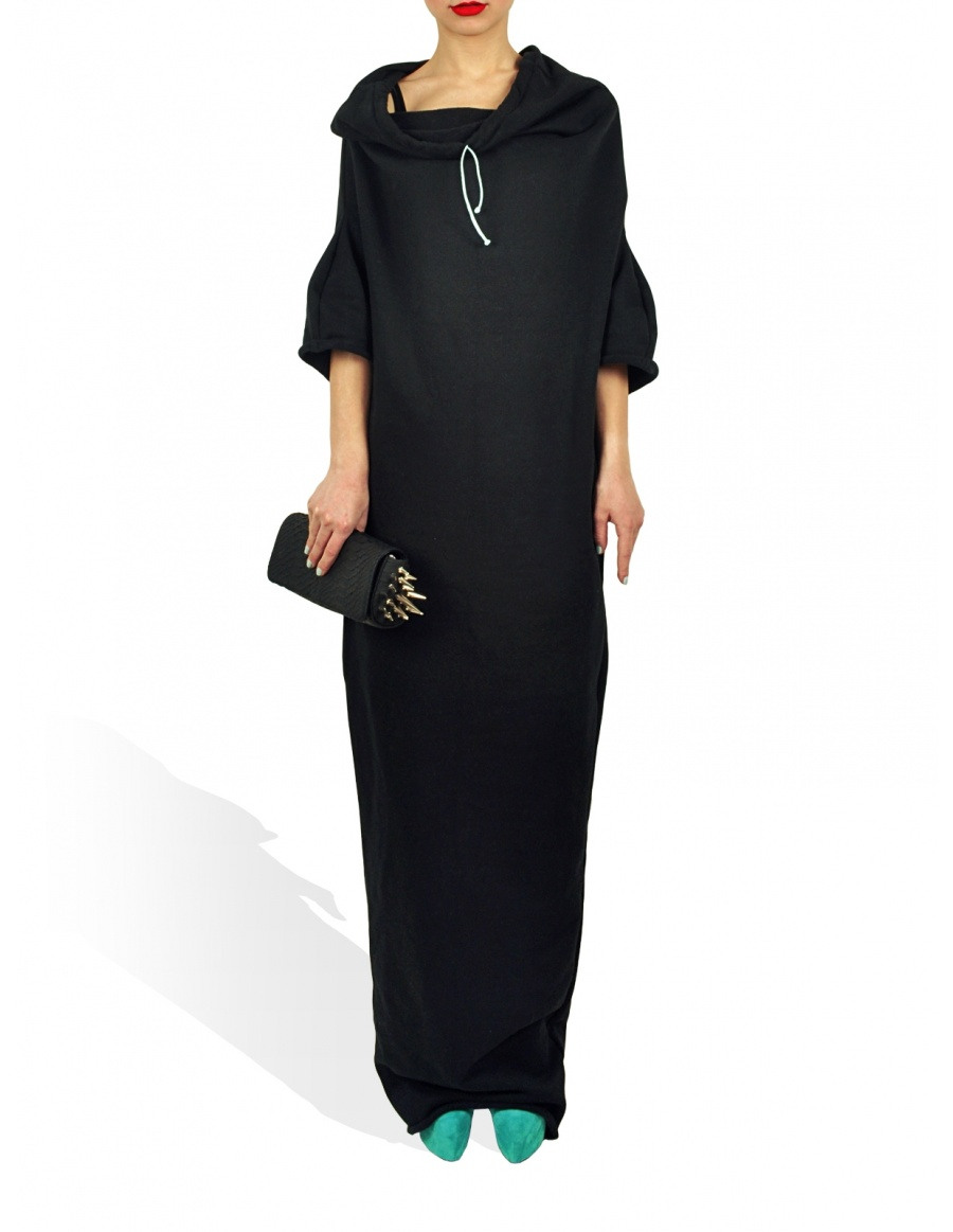 Princely Maxi Length Hoodie in Raven