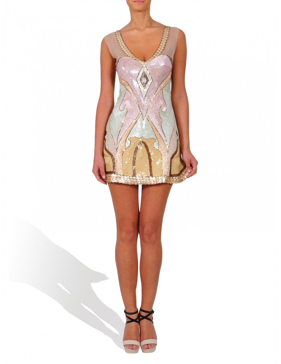 Hand embroided short dress