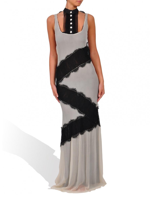 Evening dress made of silk veil