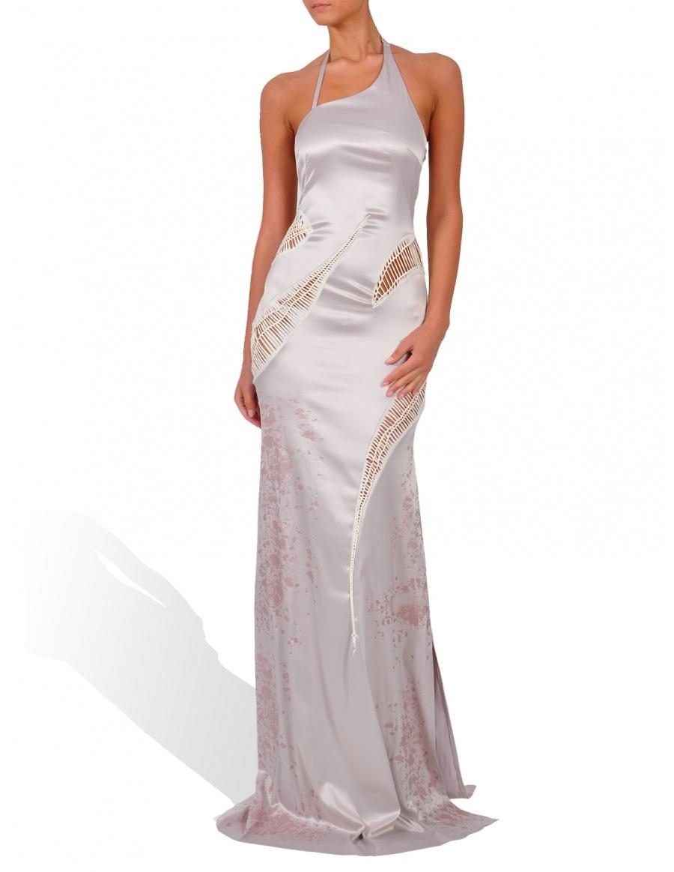 Silver long dress with beige jerse details