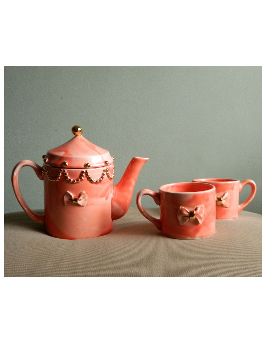 Miss Lovely bow Teapot and tea cups set