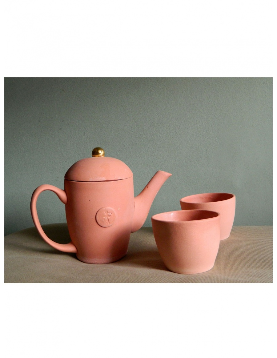 Pink ballerina teapot and tea cups set