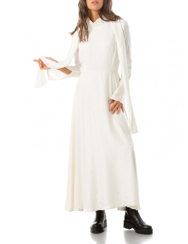 Dress With Silk Veil Scarf