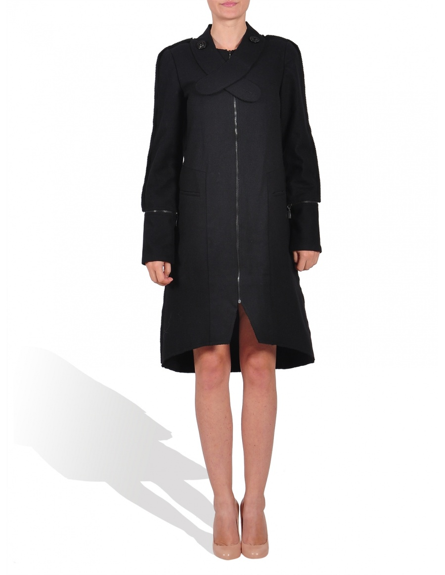 Wool coat with removable zippers