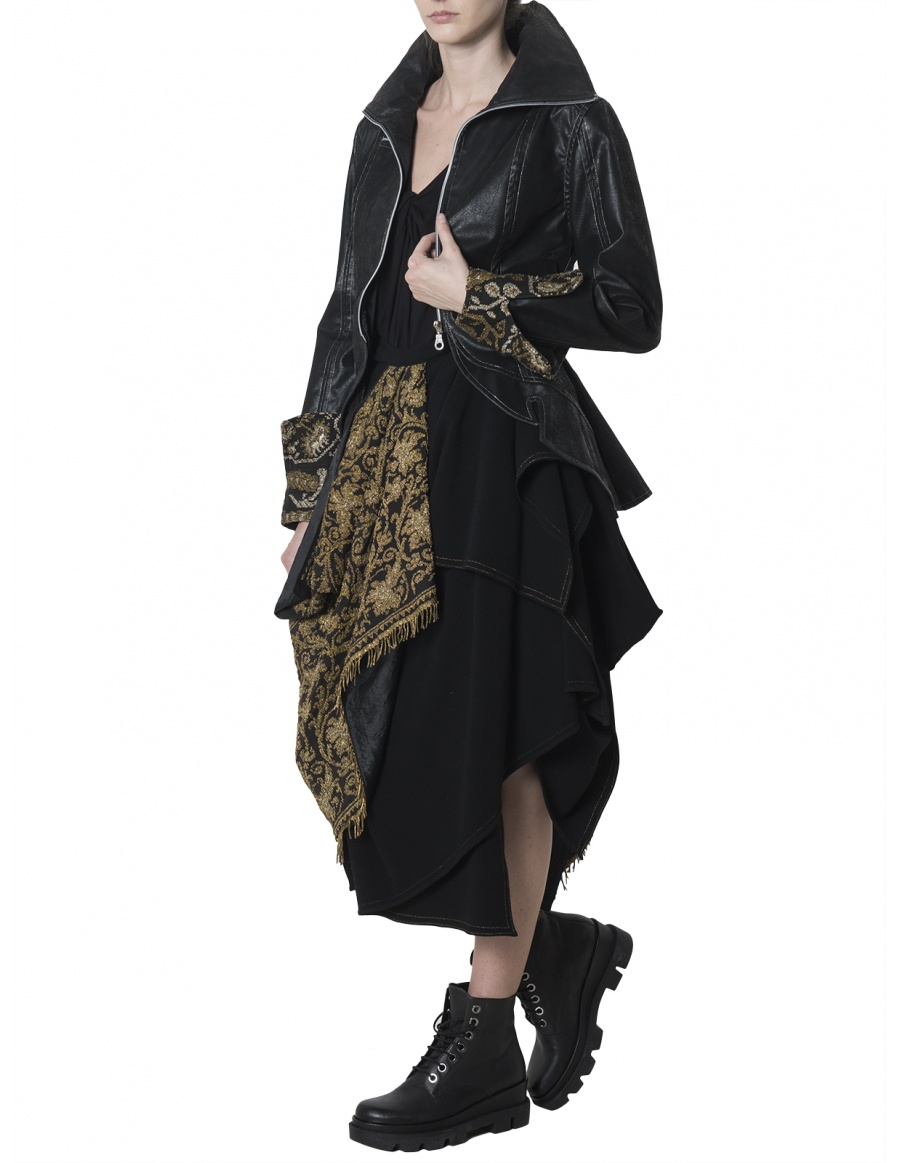 Vegan leather jacket with embroidered cuffs